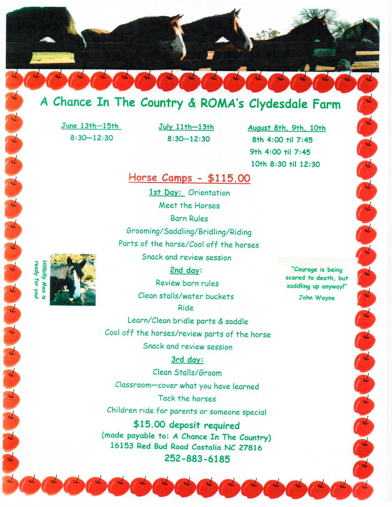 Camp Flyer 2013 Season